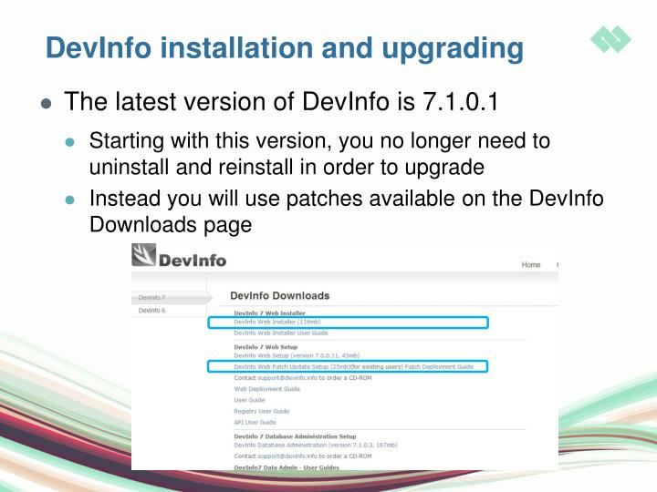 DevInfo installation and upgrading