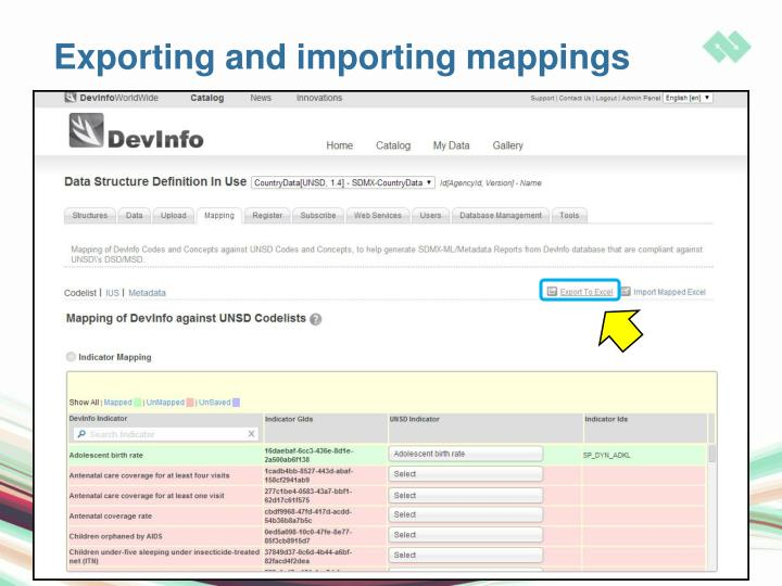 Exporting and importing mappings