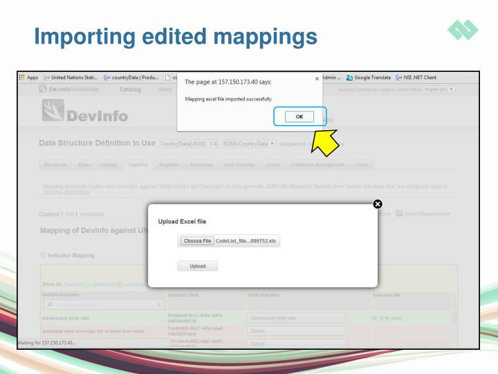 Importing edited mappings