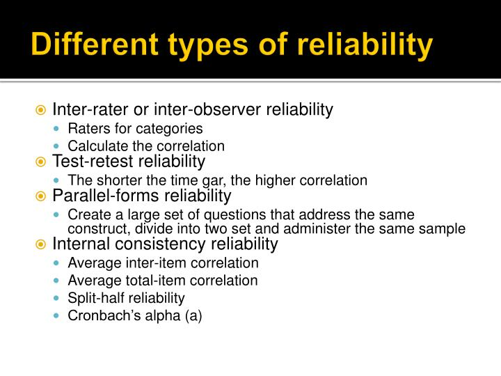 Different types of reliability