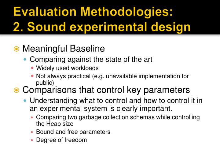Evaluation Methodologies: