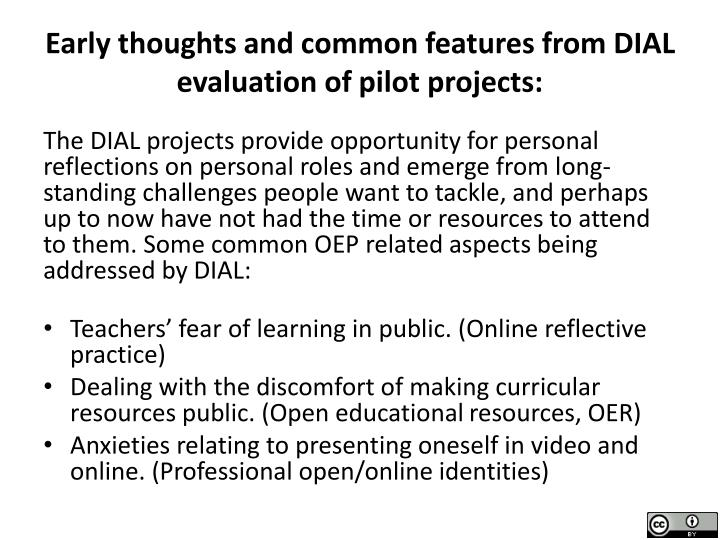 Early thoughts and common features from DIAL evaluation of pilot projects: