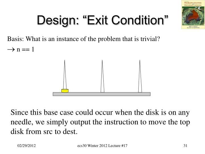 """Design: """"Exit Condition"""""""