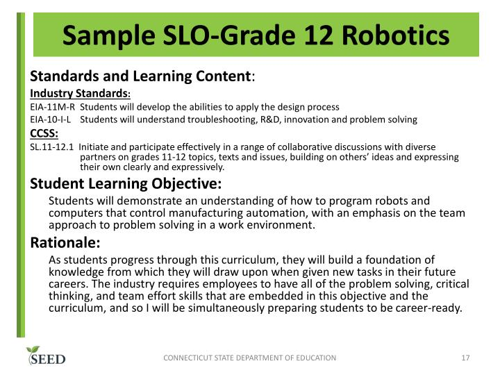 Sample SLO-Grade 12 Robotics