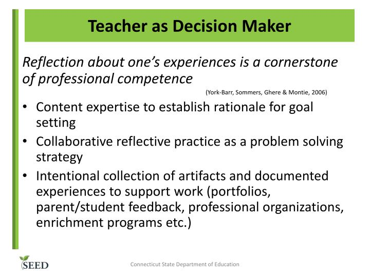 Teacher as Decision Maker