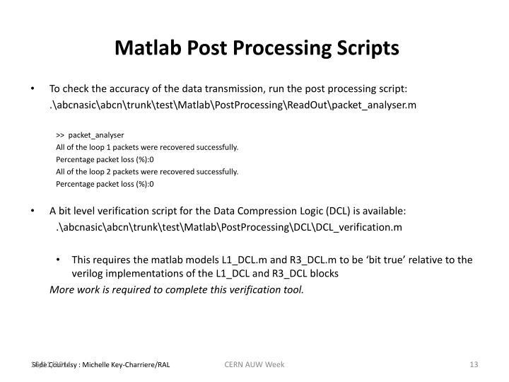 Matlab Post Processing Scripts