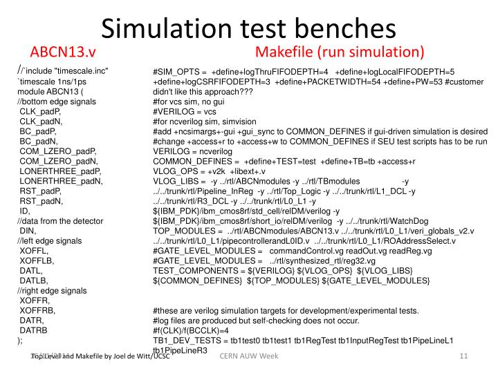 Simulation test benches