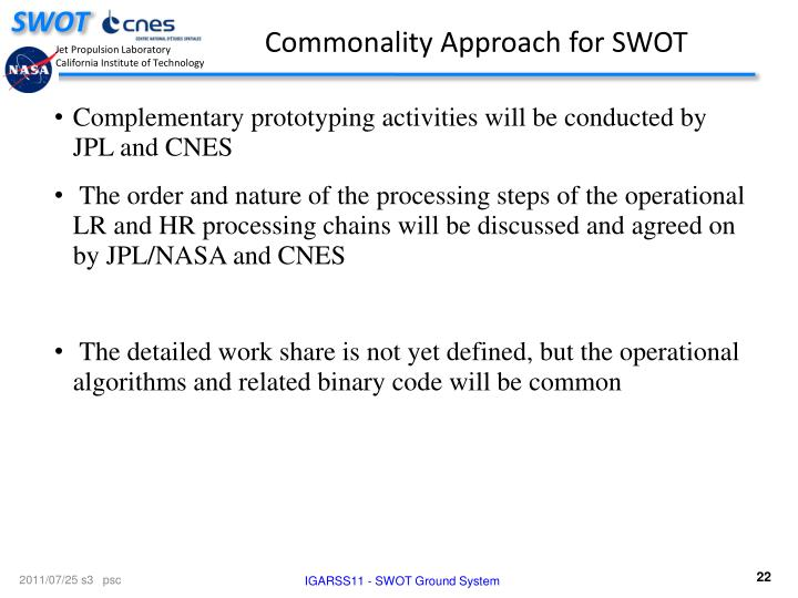 Commonality Approach for SWOT