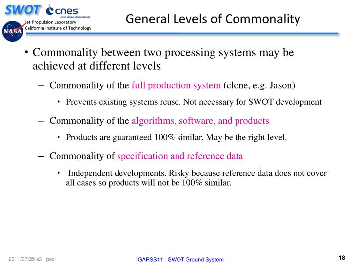 General Levels of Commonality