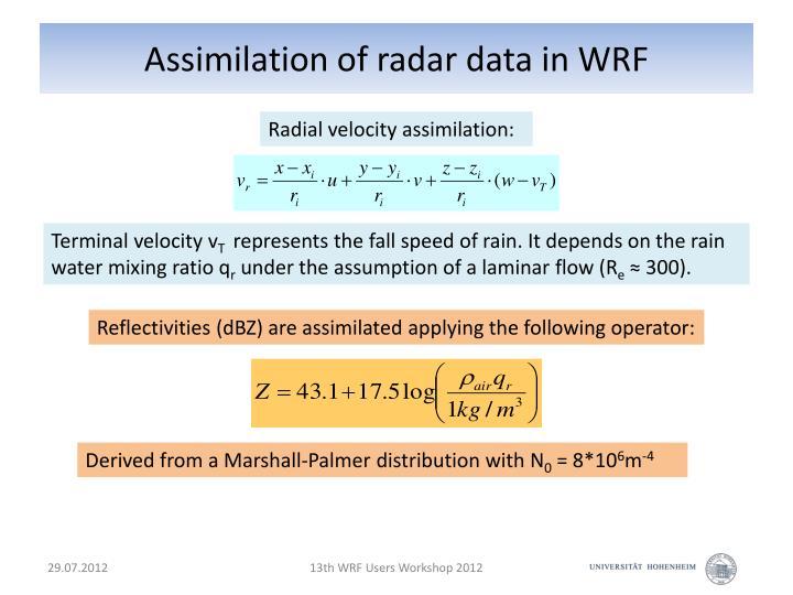 Assimilation of radar data in WRF