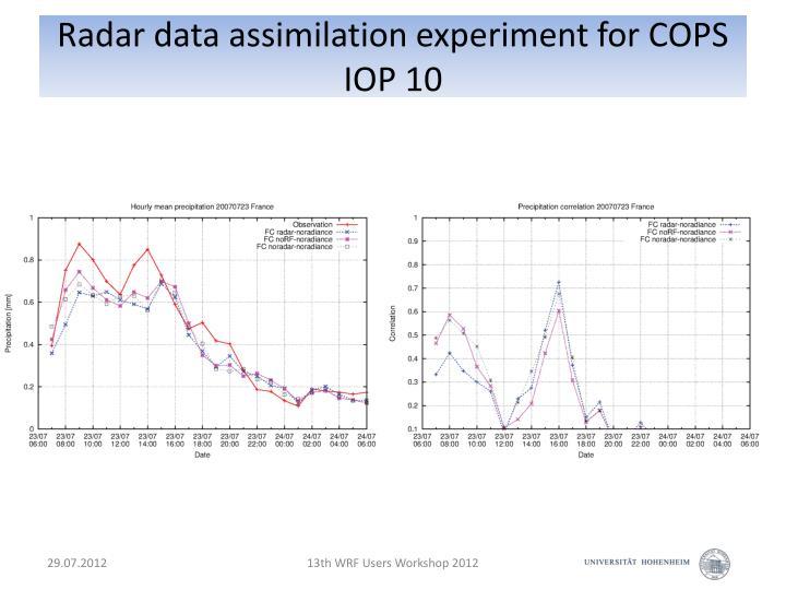 Radar data assimilation experiment for COPS IOP 10