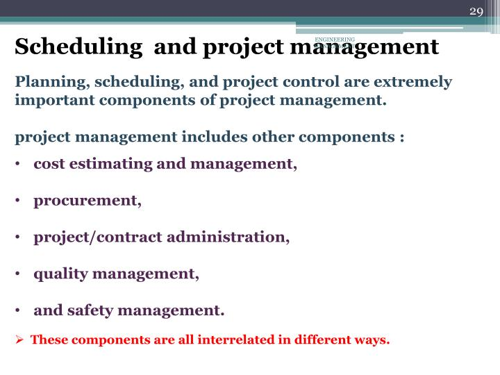 Scheduling  and project management