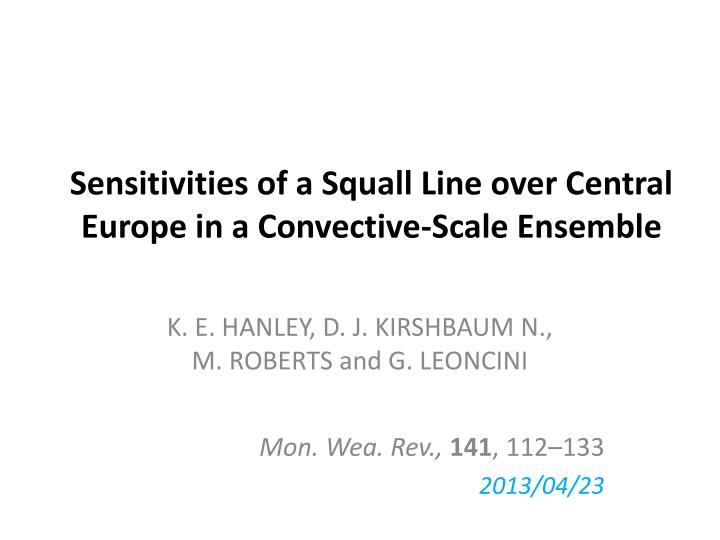 Sensitivities of a squall line over central europe in a convective scale ensemble