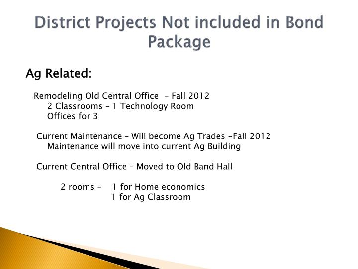 District Projects Not included in Bond Package