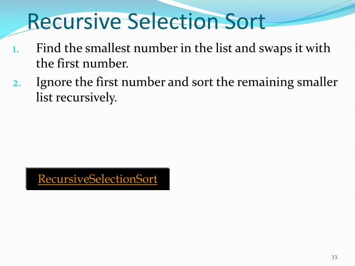 Recursive Selection Sort