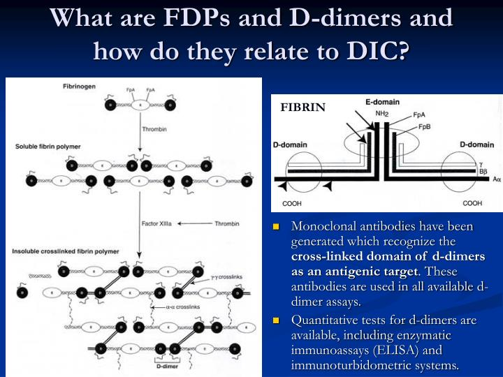 What are FDPs and D-dimers and how do they relate to DIC?