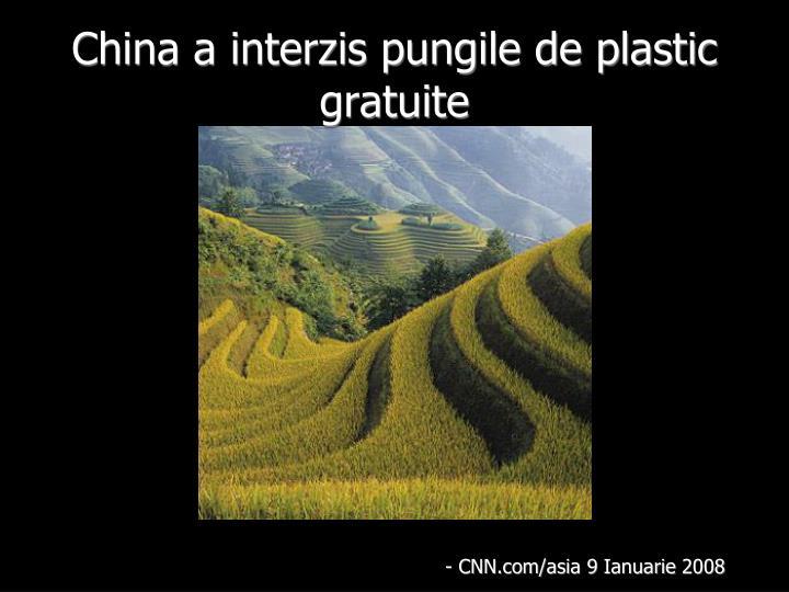 China a interzis pungile de plastic gratuite