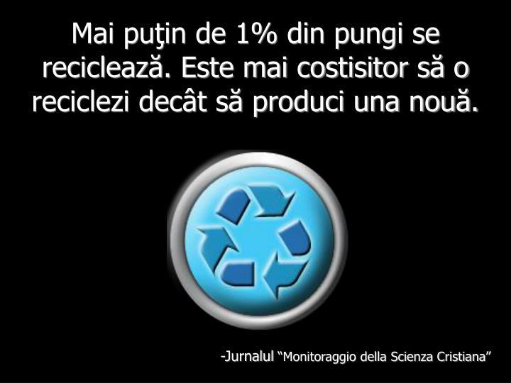 Mai puţin de 1% din pungi se reciclează. Este mai costisitor să o reciclezi decât să produci una nouă.
