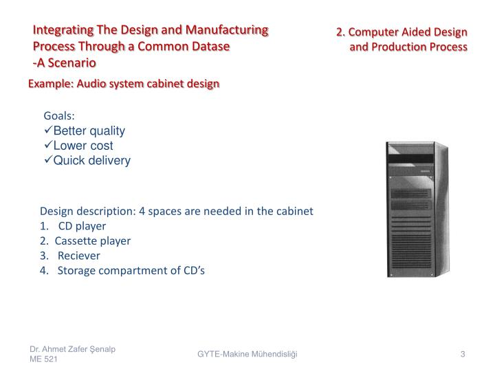 Integrating the design and manufacturing process through a common datase a scenario