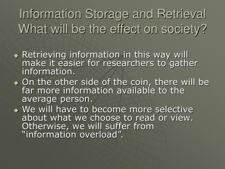 Information Storage and Retrieval