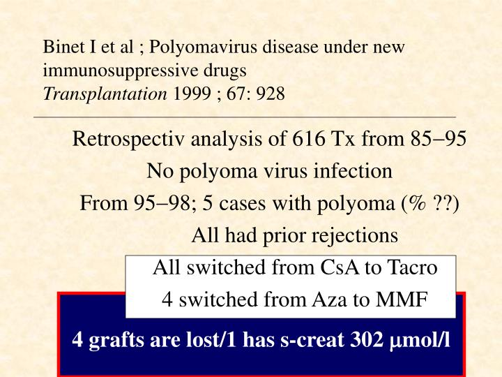 Binet I et al ; Polyomavirus disease under new immunosuppressive drugs