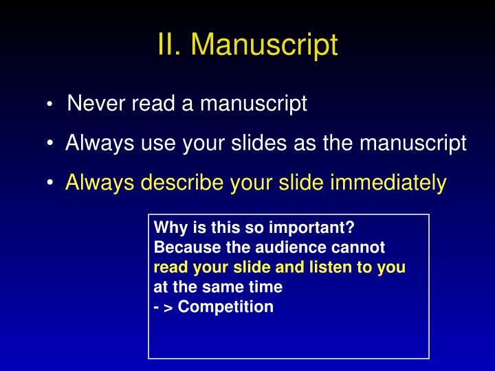 II. Manuscript