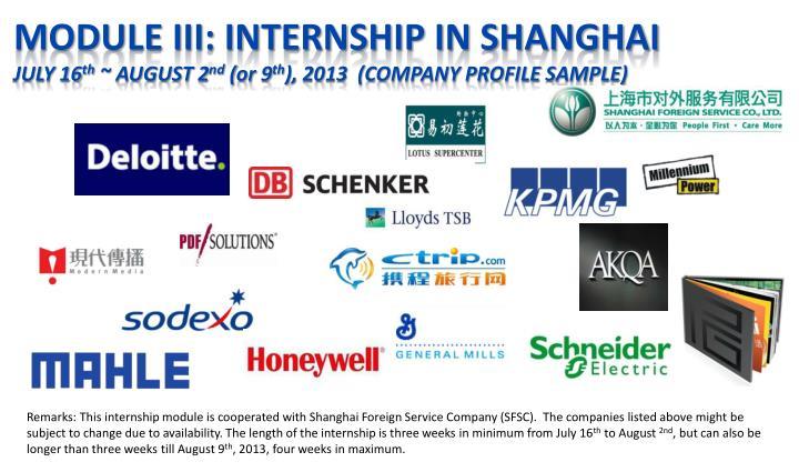 Module III: Internship in Shanghai