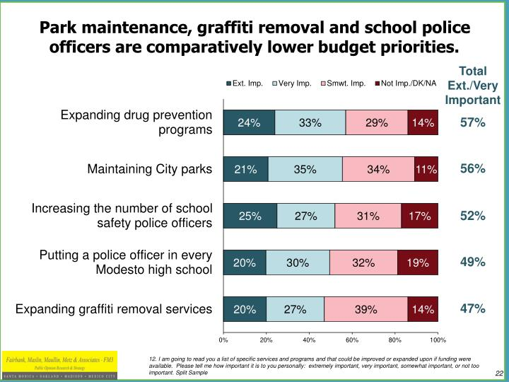 Park maintenance, graffiti removal and school police officers are comparatively lower budget priorities.