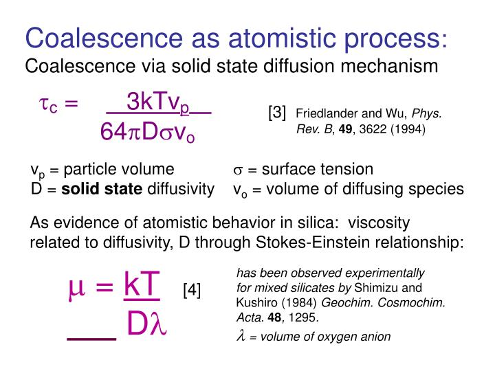 As evidence of atomistic behavior in silica:  viscosity