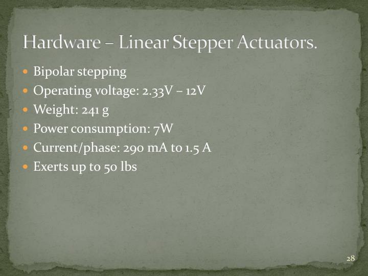 Hardware – Linear Stepper Actuators.