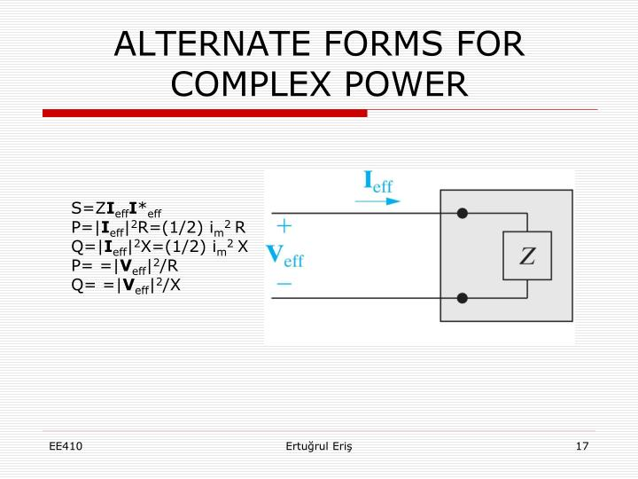 ALTERNATE FORMS FOR COMPLEX POWER