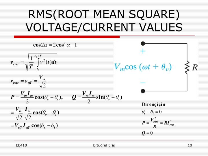 RMS(ROOT MEAN SQUARE) VOLTAGE/CURRENT VALUES