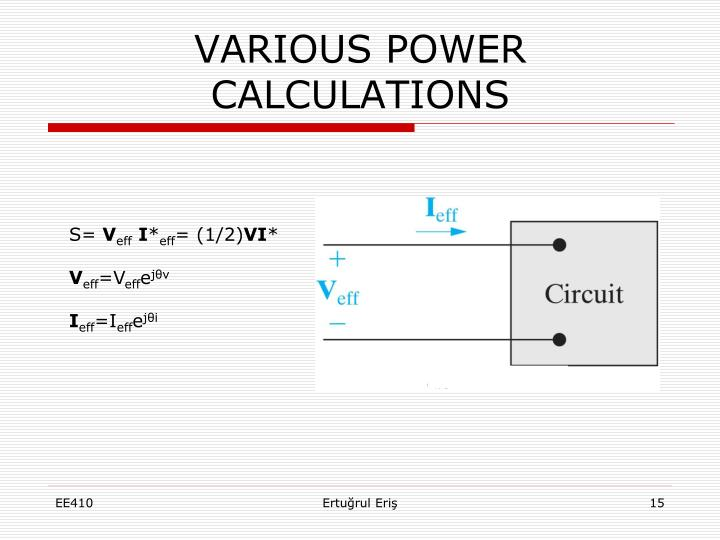 VARIOUS POWER CALCULATIONS