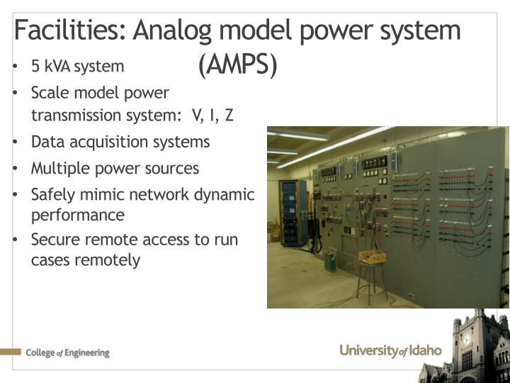 Facilities analog model power system amps