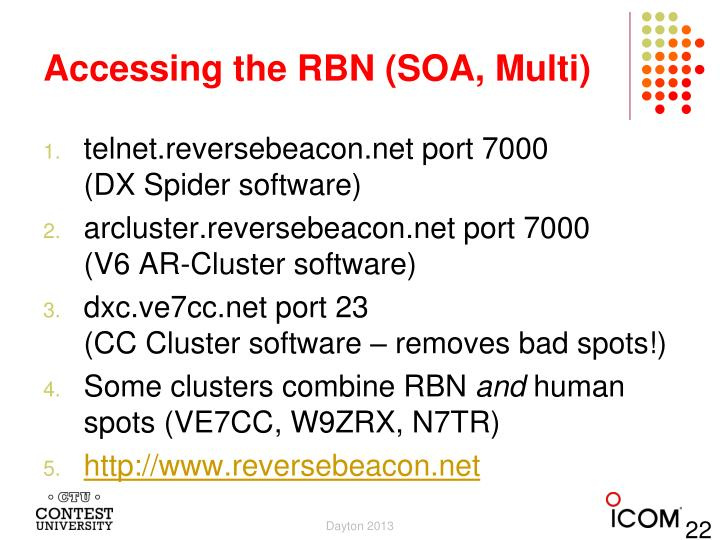 Accessing the RBN (SOA, Multi)