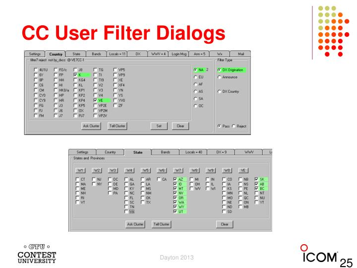 CC User Filter Dialogs