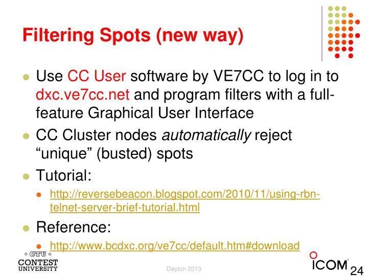 Filtering Spots (new way)