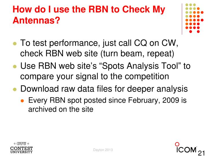 How do I use the RBN to Check My Antennas?