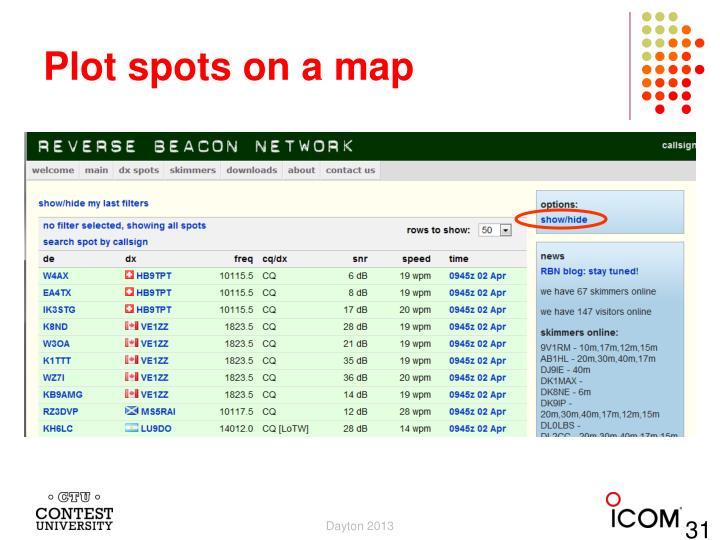 Plot spots on a map