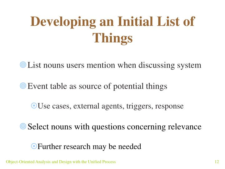 Developing an Initial List of Things