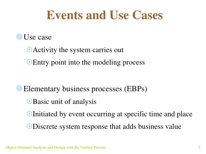 Events and use cases