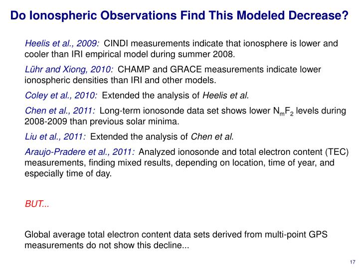 Do Ionospheric Observations Find This Modeled Decrease?