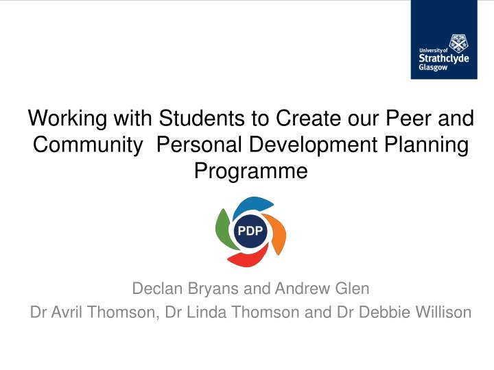 Working with students to create our peer and community personal development planning programme