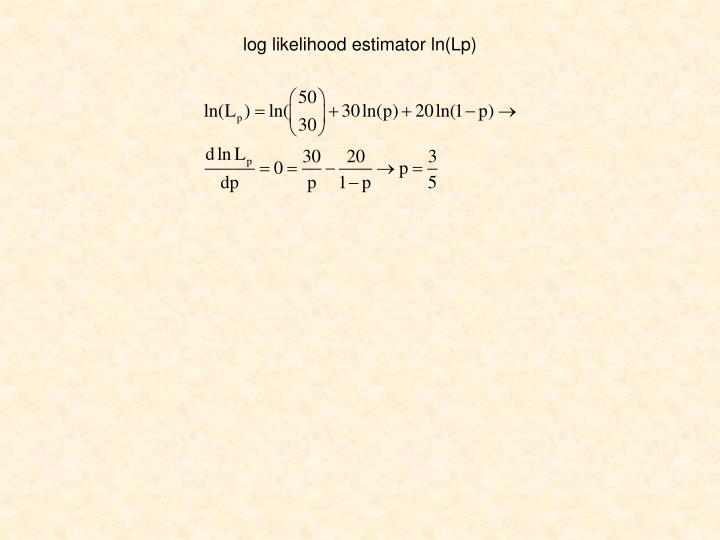 log likelihood estimator ln(Lp)