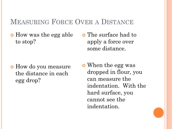 Measuring Force Over a Distance
