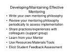developing maintaining effective mentoring