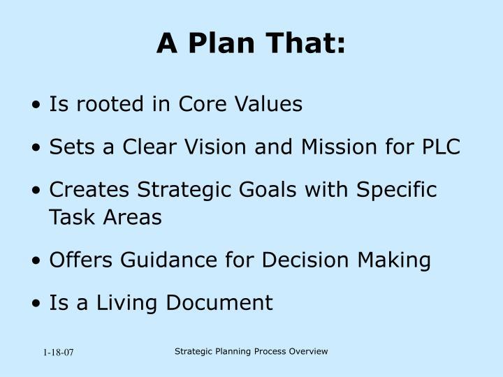 A Plan That: