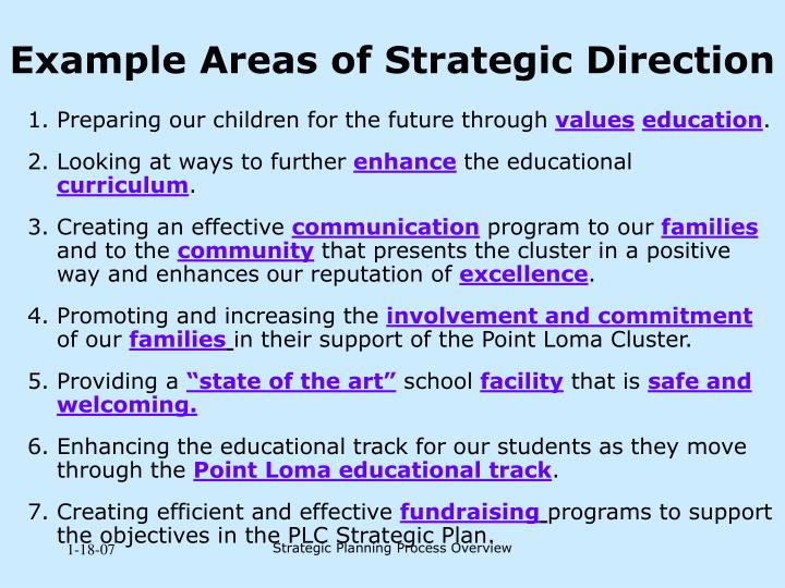 Example Areas of Strategic Direction
