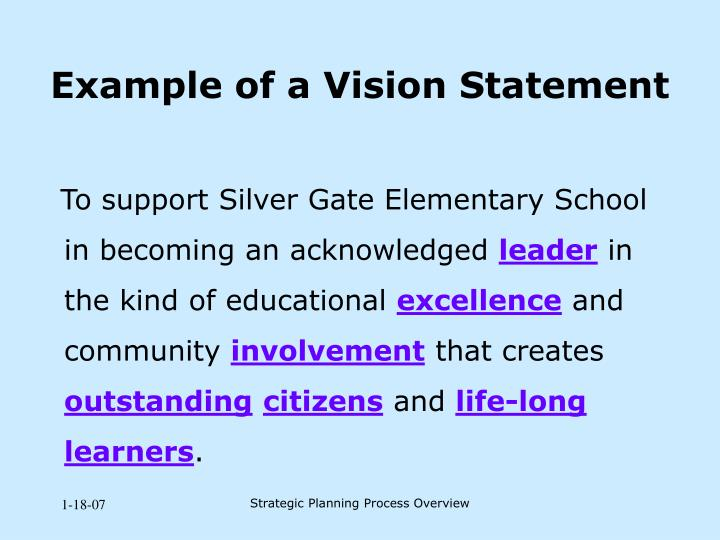 Example of a Vision Statement