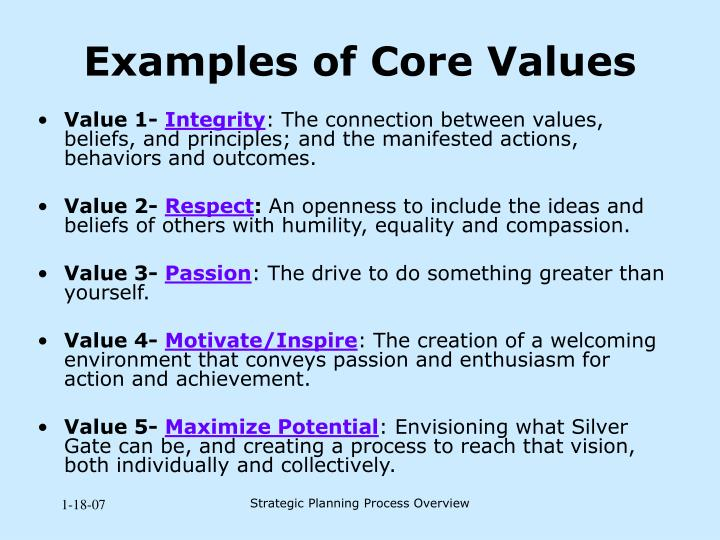 Examples of Core Values